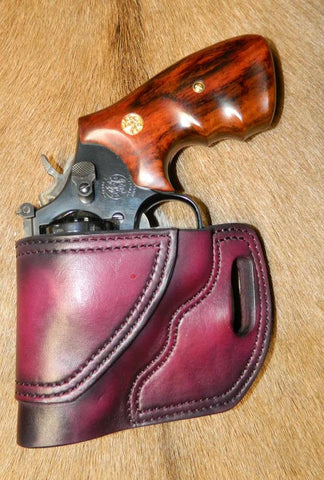 "Gary C's Avenger Left Hand Holster for S & W K Frame 2.5"" Revolver, Dark Cherry Leather  DD-054"