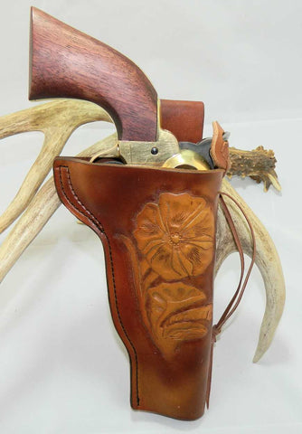 "Gary C's Custom Slim Jim Western Sheridan Style Right Hand Holster for BLACK POWDER Colt 1851 Confederate Navy Revolver 4-7/8"". Antiqued Brown Leather  CUS-005"