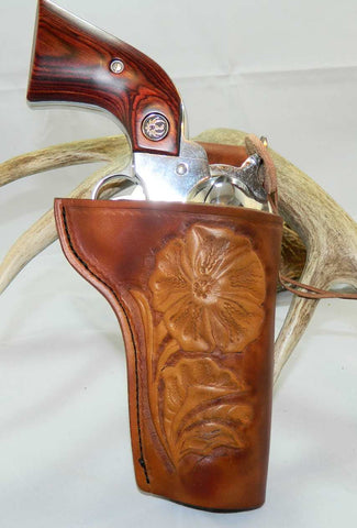 "Gary C's Custom Slim Jim Western Sheridan Style Right Hand Holster for Ruger NM Vaquero 3-3/4"" Revolver, Antiqued Brown Leather  CUS-004"
