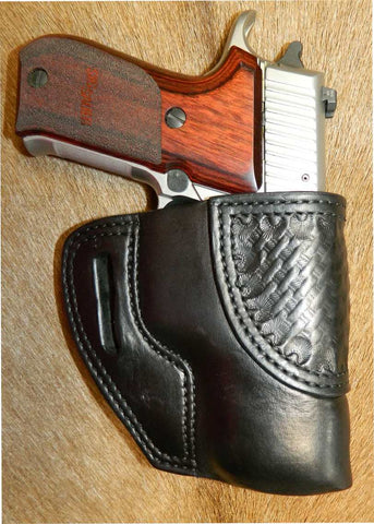 "Gary C's Avenger Right Hand Holster for Sig Sauer P220 Carry 3.9"". Black Leather with Basketweave stamping accent. P-035"