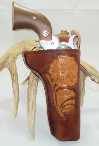 "Gary C's Custom Old Western Style, Right Hand Holster for Ruger NM Vaquero 4-5/8"" Revolver, Antiqued Brown Leather  CUS-008"