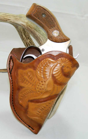 "Gary C's Custom Western Sheridan Style Right Hand Holster for S & W J Frame 2"" Revolver, Gold and Brown Leather  CUS-002"
