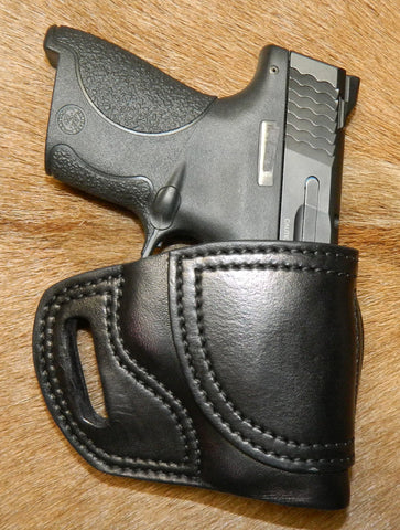 Gary C's Avenger Right Hand Holster for S & W   M & P Shield 9mm/40cal, Black Leather  M-047