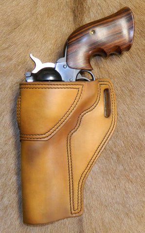 "Gary C's Avenger Left Hand Holster for Ruger NM Blackhawk 5-1/2"" Revolver.  Antiqued Golden Brown Leather W-083"