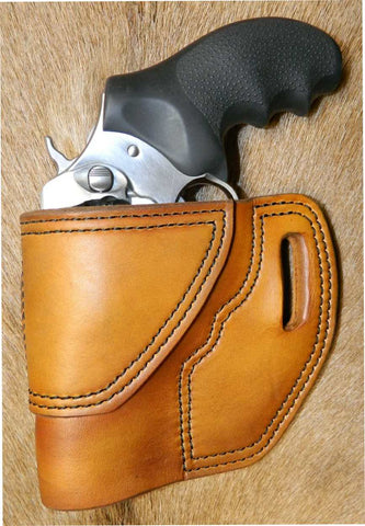"Gary C's Avenger Left hand Holster for Ruger SP101 3"" Revolver.  Antiqued Golden Brown Leather RR-053"
