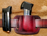 Leather Single Magazine Pouch for Double Stack 9mm/40cal Mags, fits Ruger SR9/SR9C/SR40/SR40C Mags and similar size, Dark Cherry 8-008