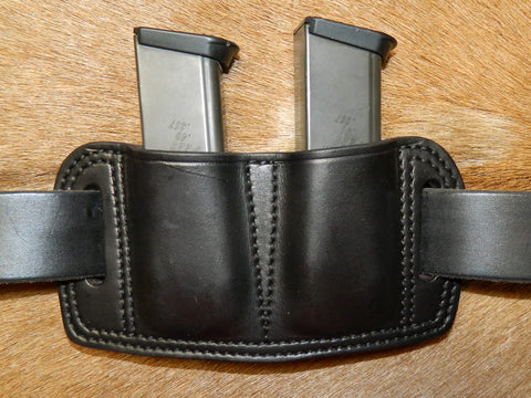 Leather Double Magazine Pouch for Sig Sauer P229 and similar size mags. Fits 9/40/357sig double stack mags. Black leather. 66-028