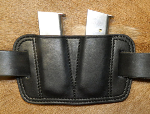 Leather Double Magazine Pouch for 45 cal Single Stack Mags, fits 1911's/Sig P220's, Black 1-211