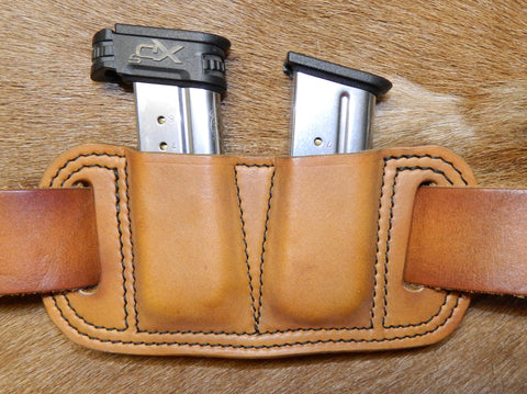 Leather Double Magazine Pouch for Springfield XDs 9mm Single Stack Mags, Antiqued Golden Brown. 22-001