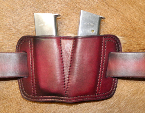 Leather Double Magazine Pouch for 45 cal Single Stack Mags, fits 1911's/Sig P220's, Dark Cherry 1-214
