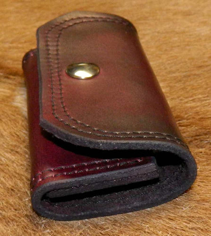 Leather Speed Strip Pouch for 357/38sp, holds 1 eight cartridge Tuff QuickStrip style strip. Belt, bag, pocket carry. Dark Cherry 22L-002