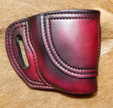 Gary C's Avenger Right Hand Holster for Ruger SR9C/SR40C with CT Laser. Dark Cherry Leather. R-026