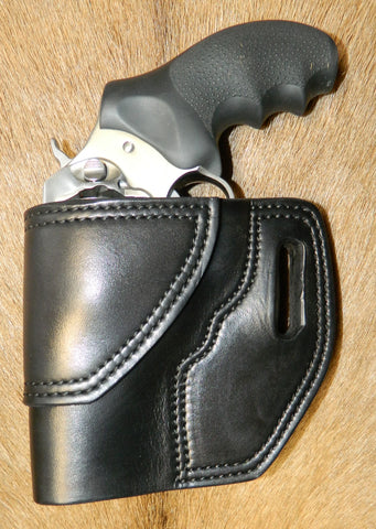 "Gary C's Avenger Left hand Holster for Ruger SP101 3"" Revolver.  Black Leather RR-071"