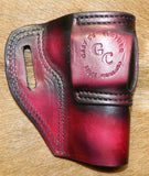 "Gary C's Avenger Left Hand Holster for Colt 1911 Combat Commander 4.25"" & Similar 1911s. Dark Cherry Leather. C-062"