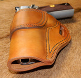 "Gary C's Avenger Left Hand Holster for Colt 1911 Government 5"" & Similar 1911s, Antiqued Golden Brown Leather. G-076"