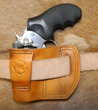 "Gary C's Avenger Right Hand Holster for Ruger SP101 2.25"". Antiqued Golden Brown Leather. RR-068"