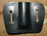 "Leather Torch Pouch. Holds ONE 1"" diameter torch/flashlight. Belt Carry.  Black Leather. 1F-016"