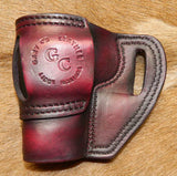 Gary C's Avenger Right Hand Holster for EAA/Tanfoglio Witness Compact Steel, No Rail. Dark Cherry Leather. E-021
