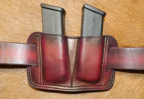 Leather Double Magazine Pouch for Glock G20/G21 fits 10mm / 45 Double Stack mags. Dark Cherry Leather. 9-008
