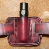 "Leather Torch Pouch. Holds ONE 1"" diameter torch/flashlight. Belt Carry.  Dark Cherry Leather. 1F-015"