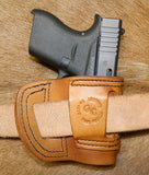 Gary C's Avenger Left Hand Holster for Glock G43, Antiqued Golden Brown. XBB-026