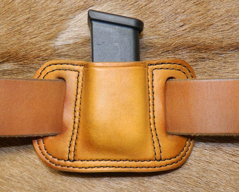 Leather Single Magazine Pouch for Double Stack 9mm/40cal/357sig Mag, fits Glock G26/27/33 Mag and similar size, Antiqued Golden Brown 77-014