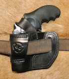 "Gary C's Avenger Right Hand Holster for Ruger SP101 2.25"" Revolver, with Retention Strap.  Black Leather RR-072"