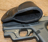 Gary C's Avenger Left Hand Holster for Glock G42 380 with Crimson Trace Green Laser.  Black Leather BBL-005
