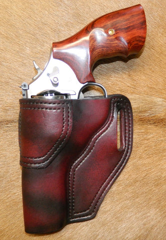 "Gary C's Avenger Left Hand Holster for S & W L Frame 4"" Revolver, Dark Cherry Leather  L-013"