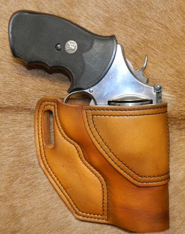 "Gary C's Avenger Right Hand Holster for S & W N Frame 3"" Revolver, Antiqued Golden Brown Leather  OO-015"