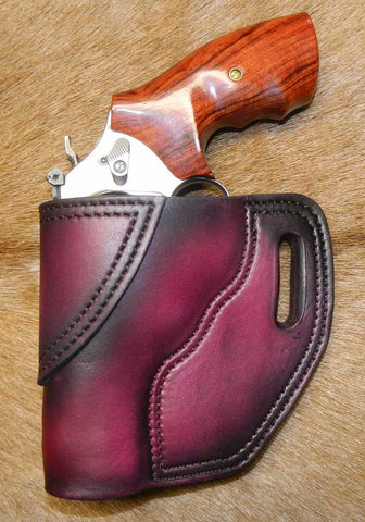 "Gary C's Avenger Left Hand Holster for S & W J Frame 3"" Revolver, Dark Cherry Leather  J-031"