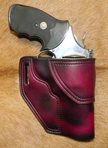 "Gary C's Avenger Right Hand Holster for S & W N Frame 4"" Revolver, Dark Cherry Leather  N-044"