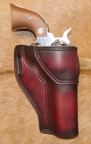 "Gary C's Avenger Right Hand Holster for Ruger NM Blackhawk 5-1/2"" Revolver.  Dark Cherry Leather W-086"