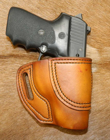 Gary C's Avenger Right Hand Holster for Sig Sauer P239.  Antiqued Golden Brown Leather ST-012