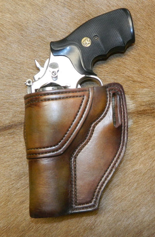 "Gary C's Avenger Left Hand Holster for S & W K Frame 4"" Revolver, Antiqued Brown Leather  K-014"