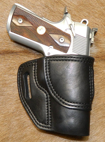 "Gary C's Avenger Right Hand Holster for Colt 1911 Officers 3.5"" & Similar 1911s, Black Leather. O-036"