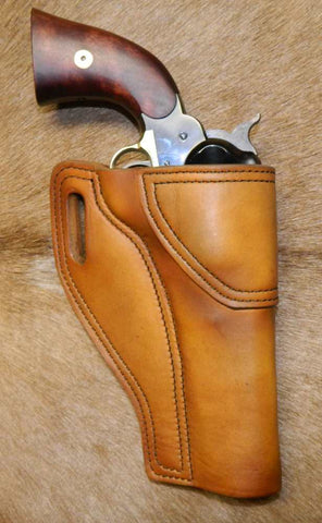 "Gary C's Avenger Right Hand Holster for Colt 1858 Army, Sheriff's Model BLACK POWDER 5-1/2"" & Similar Clones, Antiqued Golden Brown Leather. ABP-006"