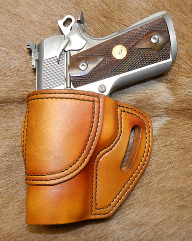 "Gary C's Avenger Left Hand Holster for Colt 1911 Officers 3.5"" & Similar 1911s, Antiqued Golden Brown Leather. O-035"