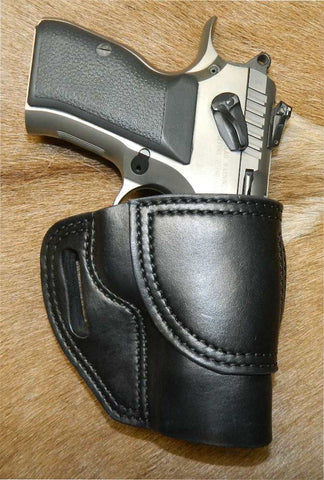 Gary C's Avenger Right Hand Holster for EAA/Tanfoglio Witness Compact Steel, No Rail. Black Leather. E-020