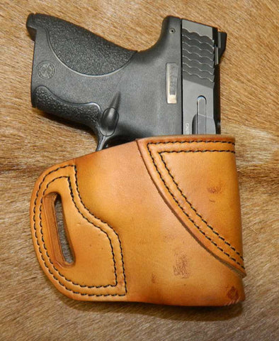 Gary C's Avenger Right Hand Holster for S & W   M & P Shield 9mm/40cal, Antiqued Golden Brown Leather  M-045