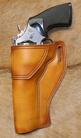 "Gary C's Avenger Left Hand Holster for S & W N Frame 6.5"" Revolver, Antiqued Golden Brown Leather  PPP-034"