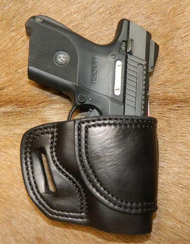 Gary C's Avenger Right Hand Holster for Ruger SR9C/SR40C. Black Leather. R-022