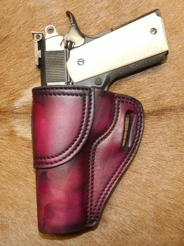 "Gary C's Avenger Left Hand Holster for Colt 1911 Government 5"" & Similar 1911s, Dark Cherry Leather. G-073"