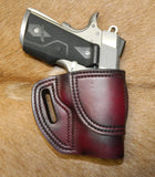"Gary C's Avenger Right Hand Holster for Colt 1911 Defender 3"" & Similar 1911s, Dark Cherry Leather. D-040"