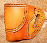 "Gary C's Avenger Left Hand Holster for Colt 1911 Defender 3"" & Similar 1911s, Antiqued Golden Brown Leather. D-035"