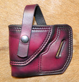 "Gary C's Avenger Left hand Holster for Ruger SP101 2.25"" Revolver, with Retention Strap.  Dark Cherry Leather RR-069"