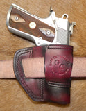 "Gary C's Avenger Left Hand Holster for Colt 1911 Officers 3.5"" & Similar 1911s, Dark Cherry Leather. O-033"
