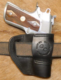 "Gary C's Avenger Left Hand Holster for Colt 1911 Officers 3.5"" & Similar 1911s, Black Leather. O-034"