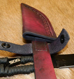 "Custom Leather Knife Sheath. Holds Fixed Blade Knives 4.4"", Includes SOG Stainless shown. Right Side Belt Carry.  Dark Cherry Leather. KSF-9002"