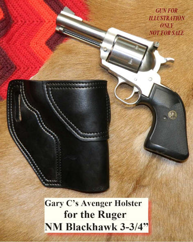 "Gary C's Avenger Right Hand Holster for Ruger NM Blackhawk 3-3/4"" Revolver.  Black Leather W-092"
